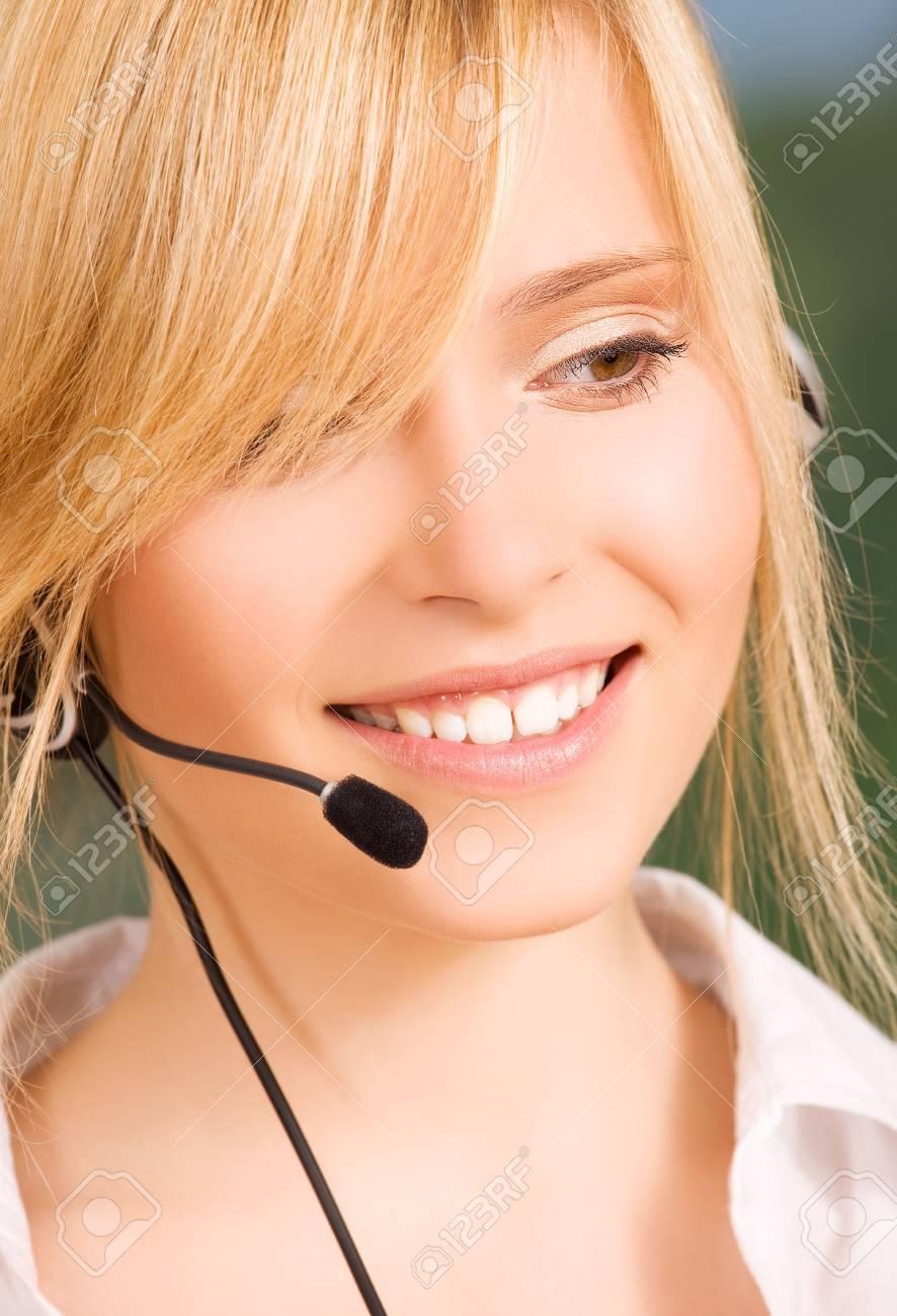 bright picture of friendly female helpline operator Stock Photo - 6000196