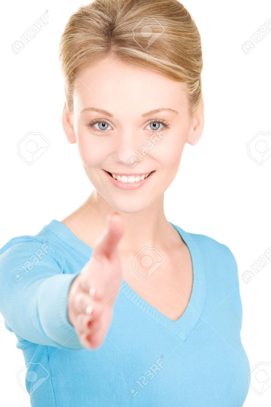 lovely woman with an open hand ready for handshake Stock Photo - 6071907
