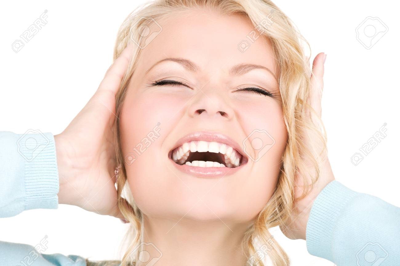 picture of happy screaming woman with hands over ears Stock Photo - 6105143