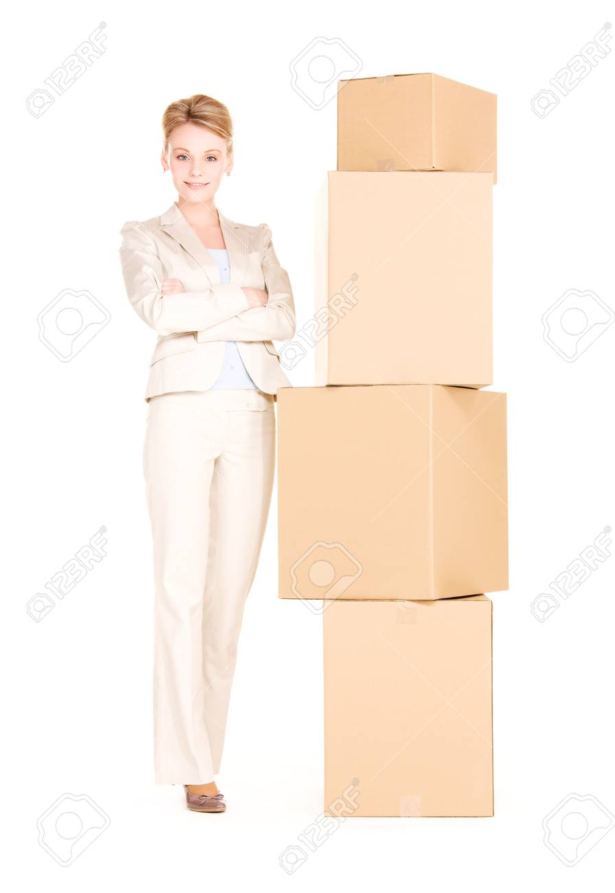 picture of businesswoman with boxes over white Stock Photo - 6172164