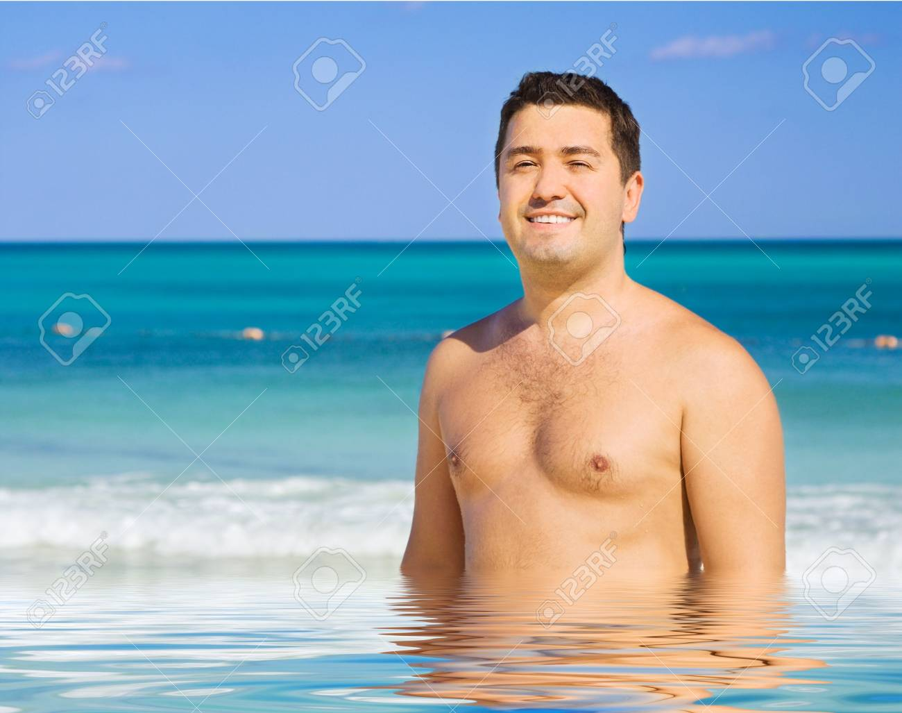 picture of happy man on the beach Stock Photo - 6179442