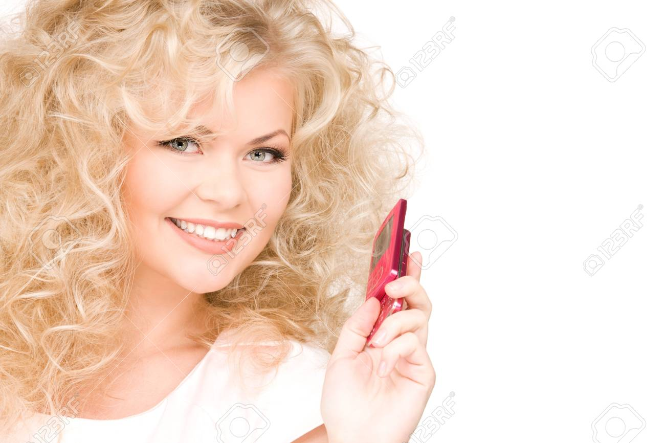 picture of happy woman with cell phone Stock Photo - 6375999