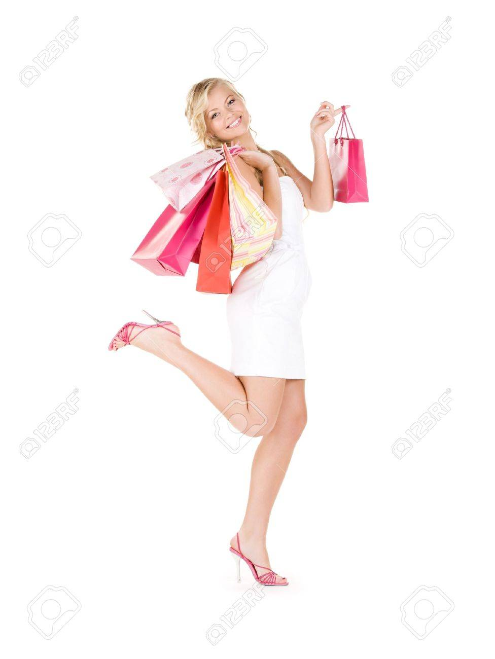 happy woman with shopping bags over white Stock Photo - 6408511