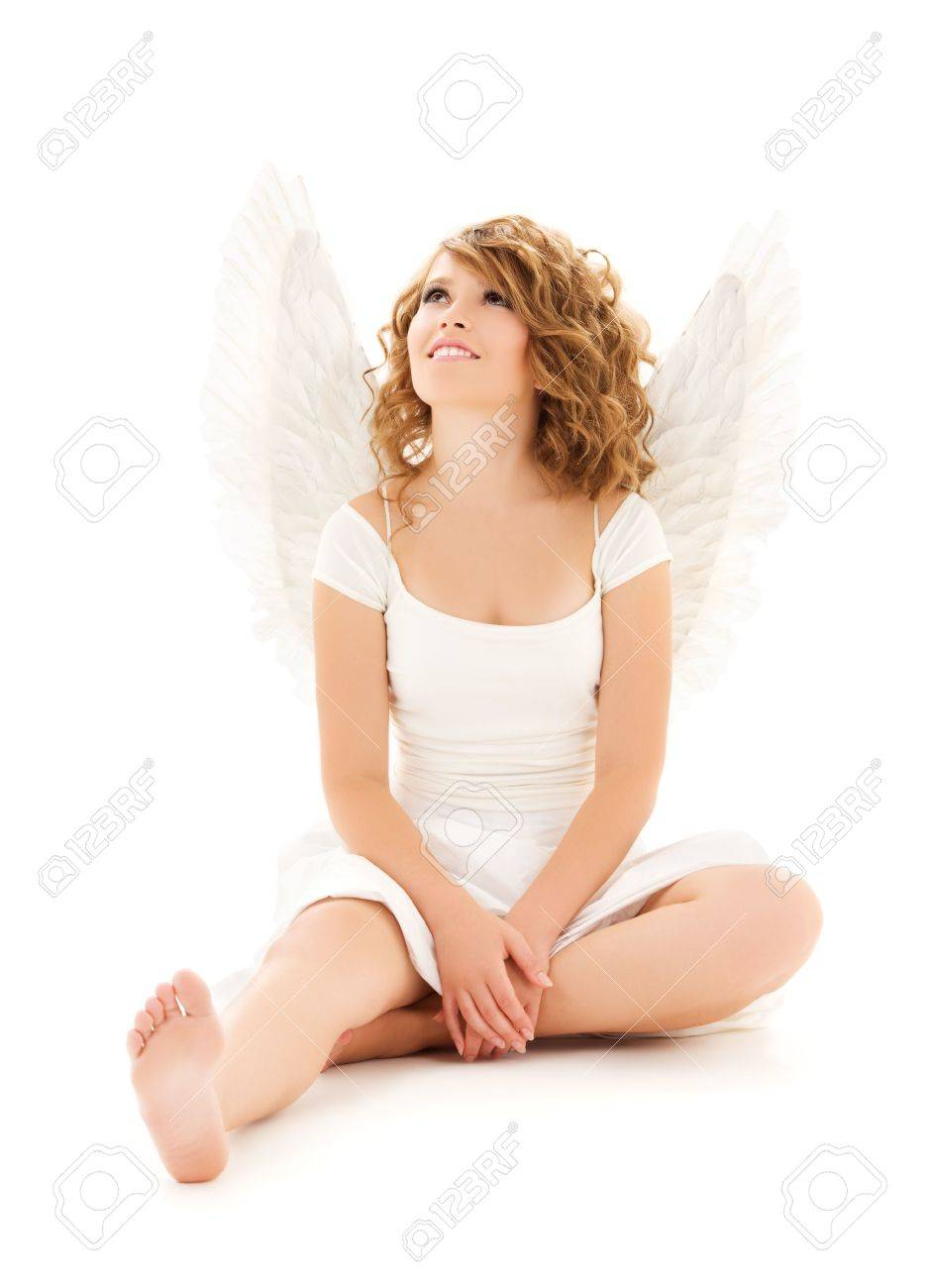picture of happy teenage angel girl over white Stock Photo - 6432057