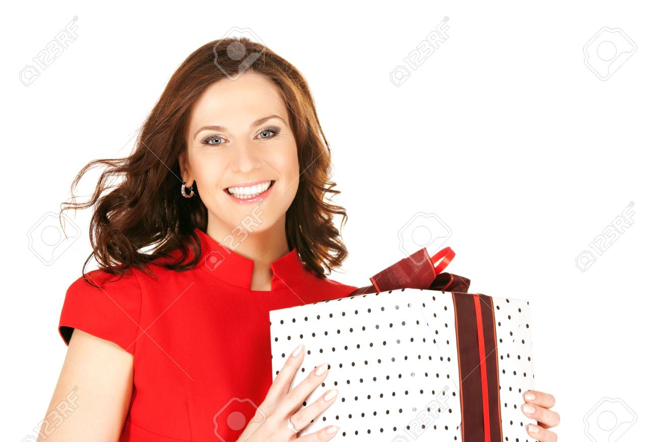 happy woman with gift box over white Stock Photo - 6510100
