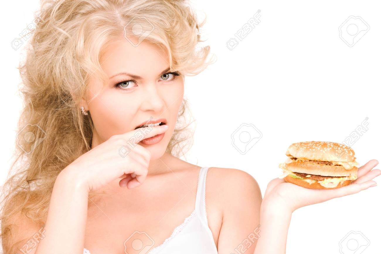 young beautiful woman with burger over white Stock Photo - 6525689