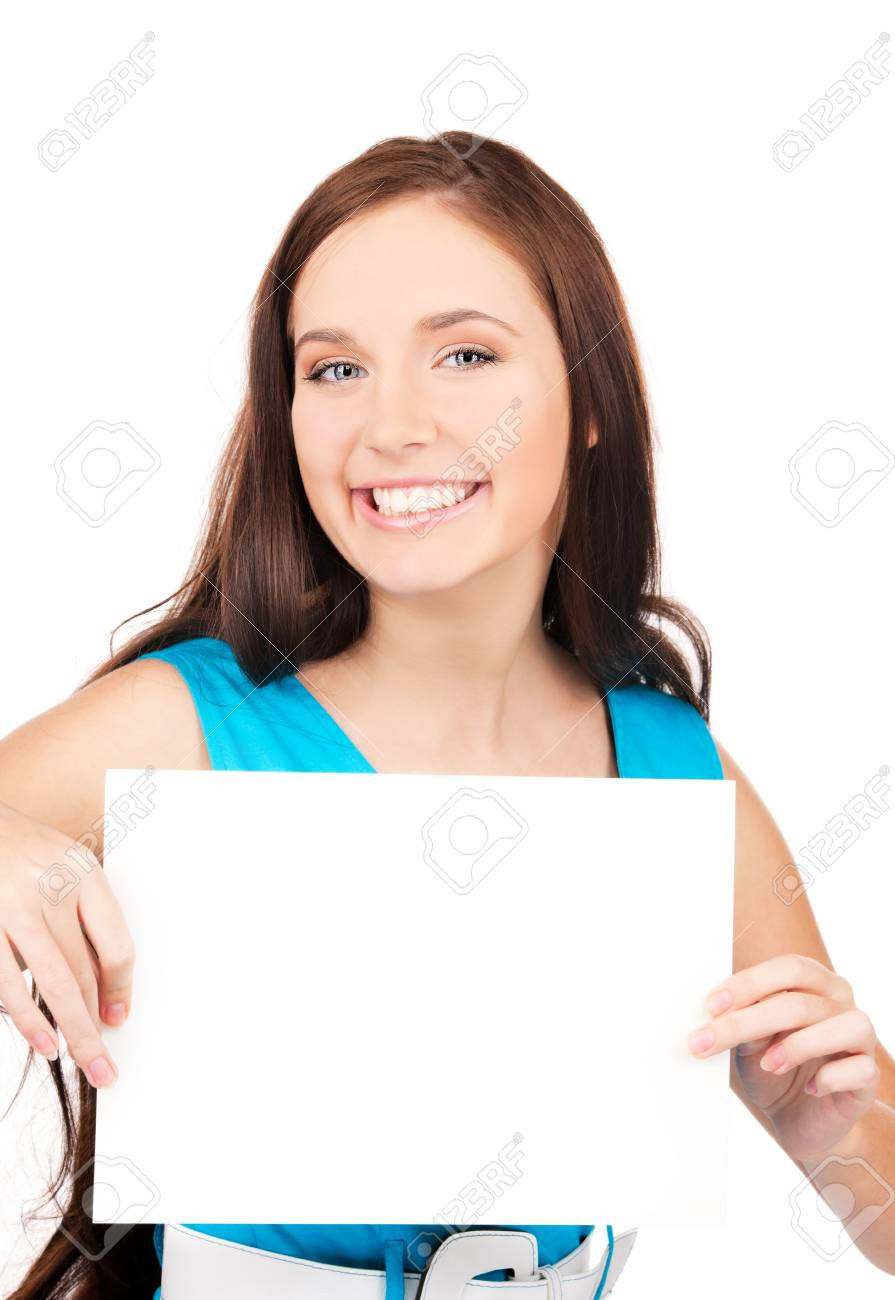 happy girl with blank board over white Stock Photo - 6710207
