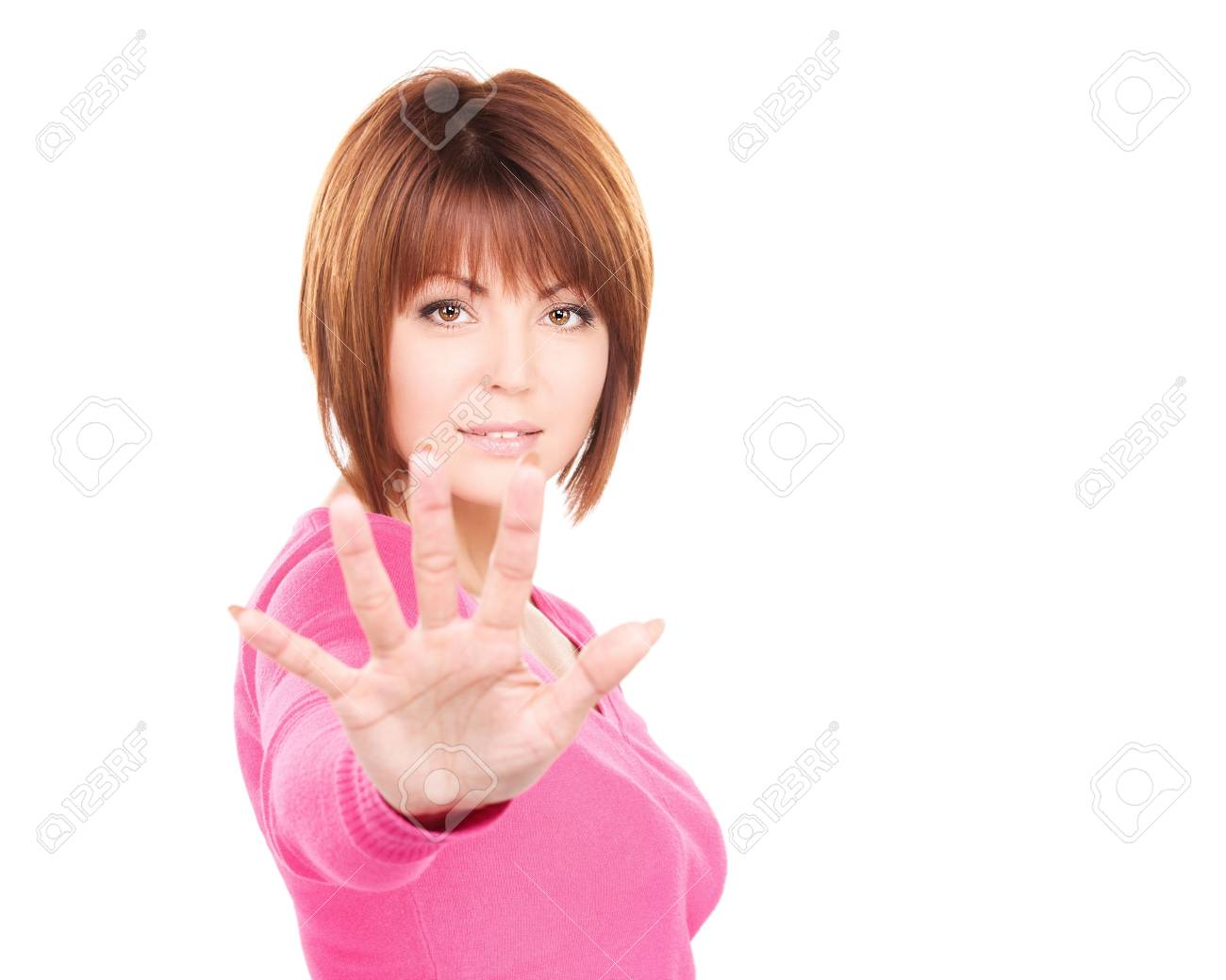 bright picture of businesswoman making stop gesture Stock Photo - 6730916
