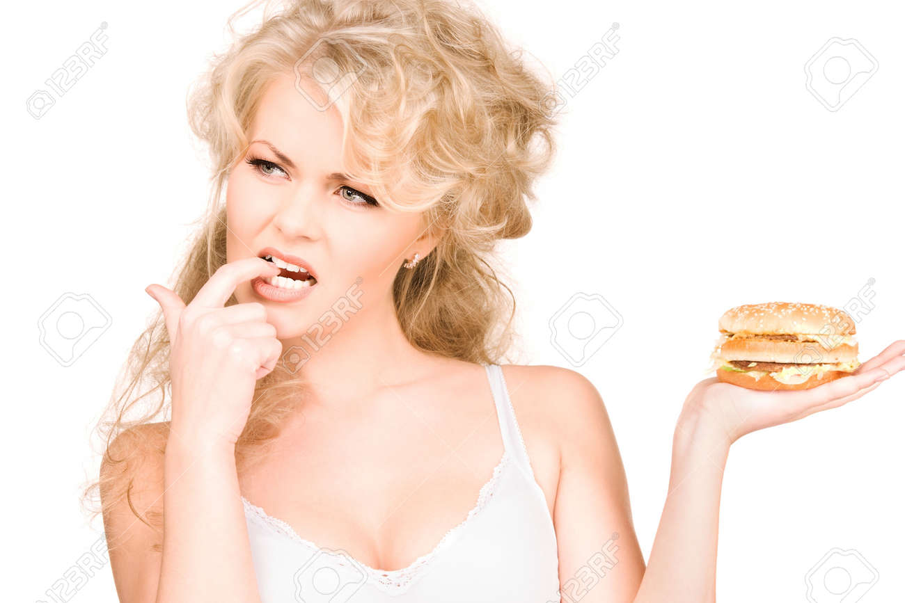 young beautiful woman with burger over white Stock Photo - 6760700