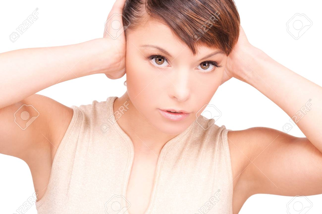 picture of unhappy woman with hands on ears Stock Photo - 6805947
