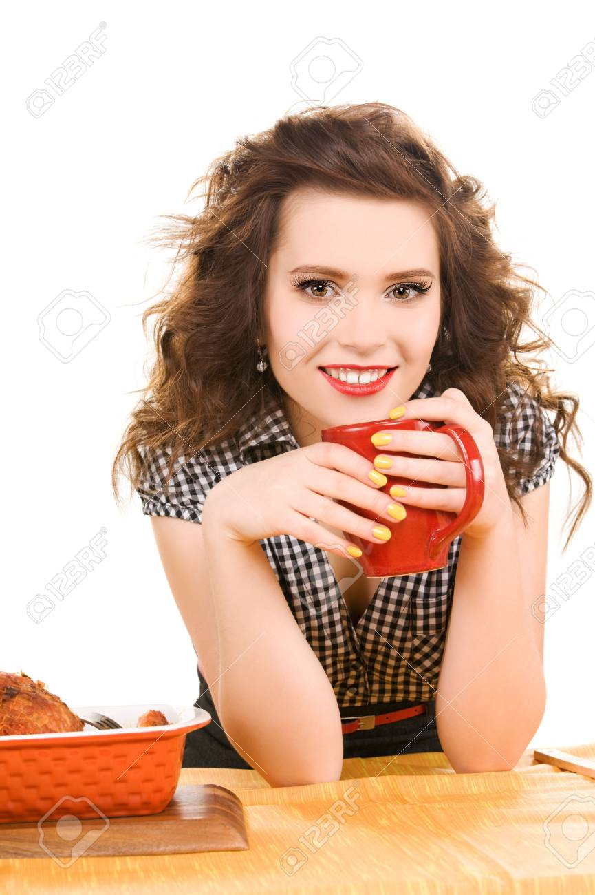 picture of young attractive woman in the kitchen Stock Photo - 6806163