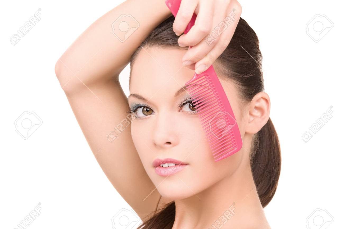 bright picture of beautiful woman with comb Stock Photo - 6806184