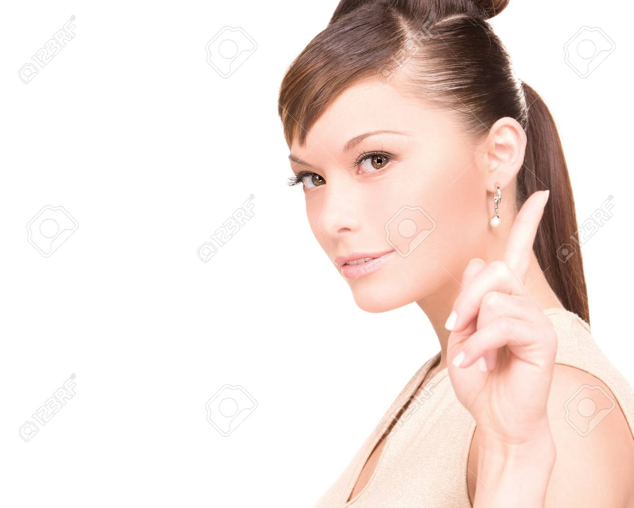 picture of attractive young woman with her finger up Stock Photo - 6941609