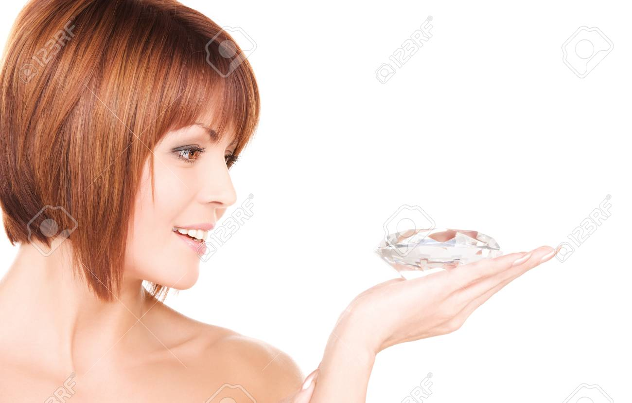 portrait of lovely woman with big diamond Stock Photo - 6945565