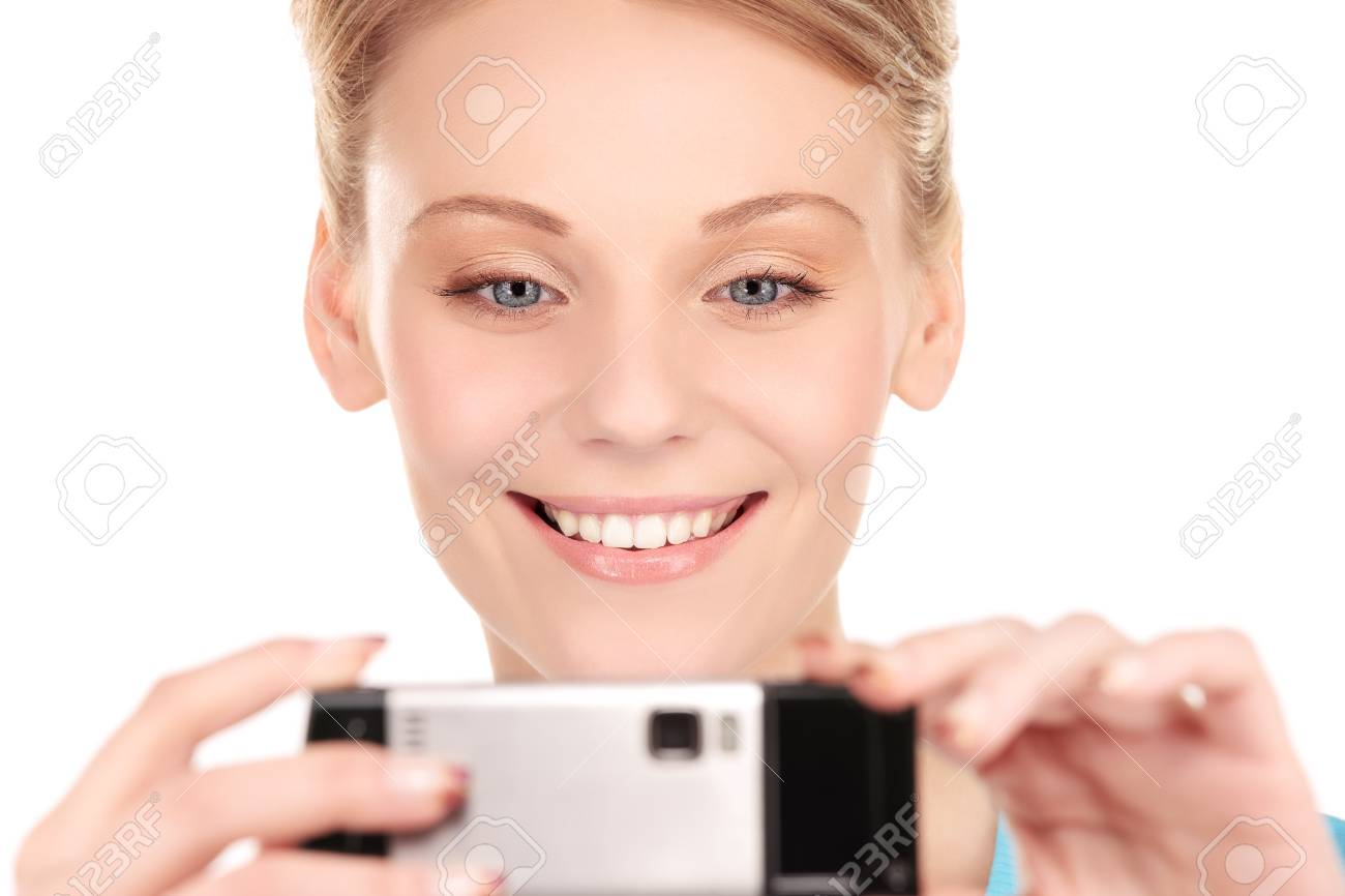 picture of happy woman using phone camera Stock Photo - 7010402
