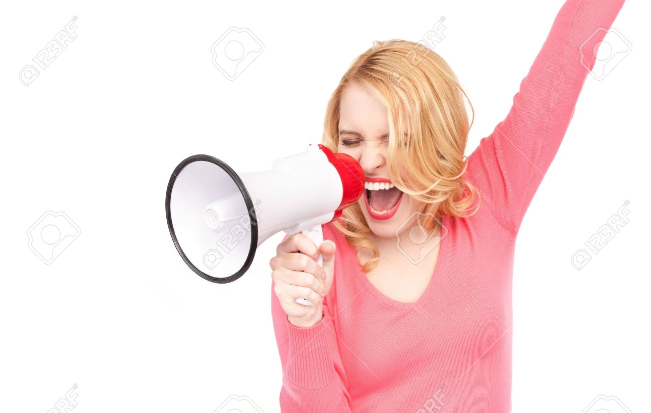 picture of woman with megaphone over white Stock Photo - 7070885