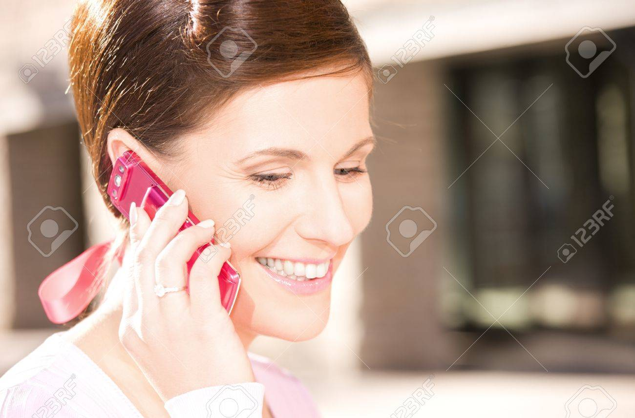 picture of happy woman with cell phone Stock Photo - 7347019