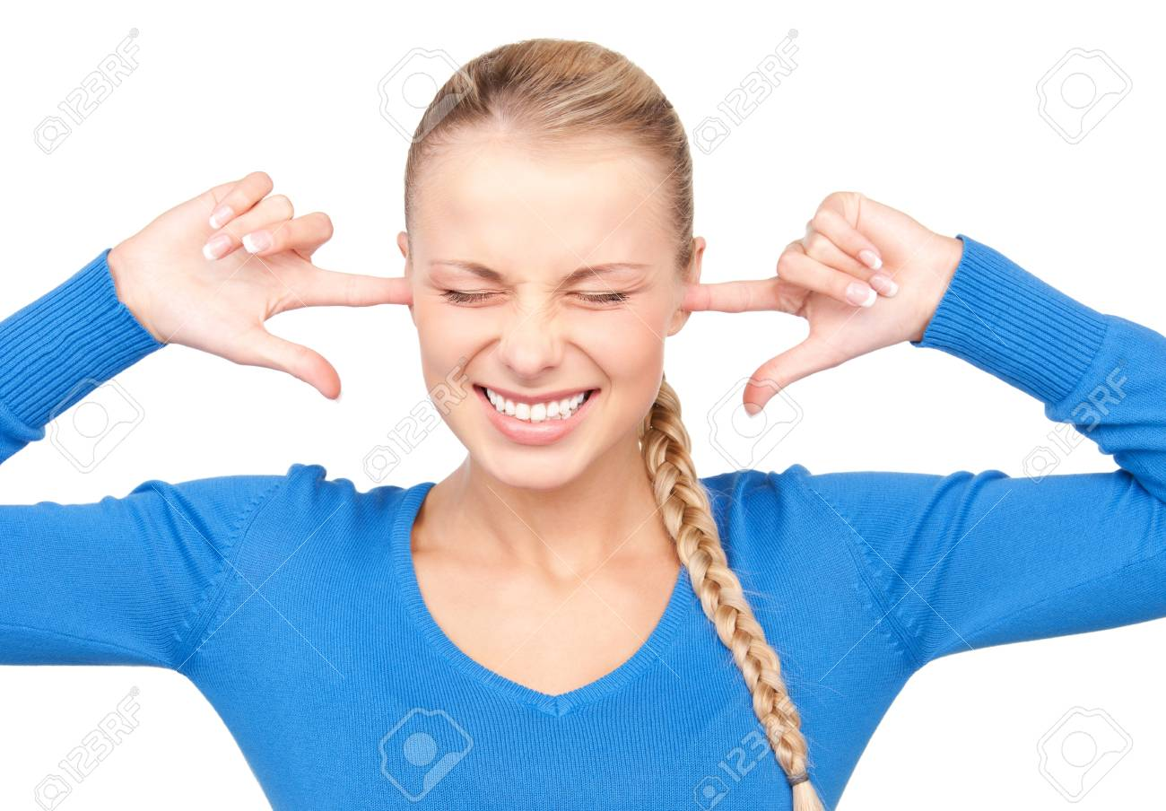 picture of smiling woman with fingers in ears Stock Photo - 7366501