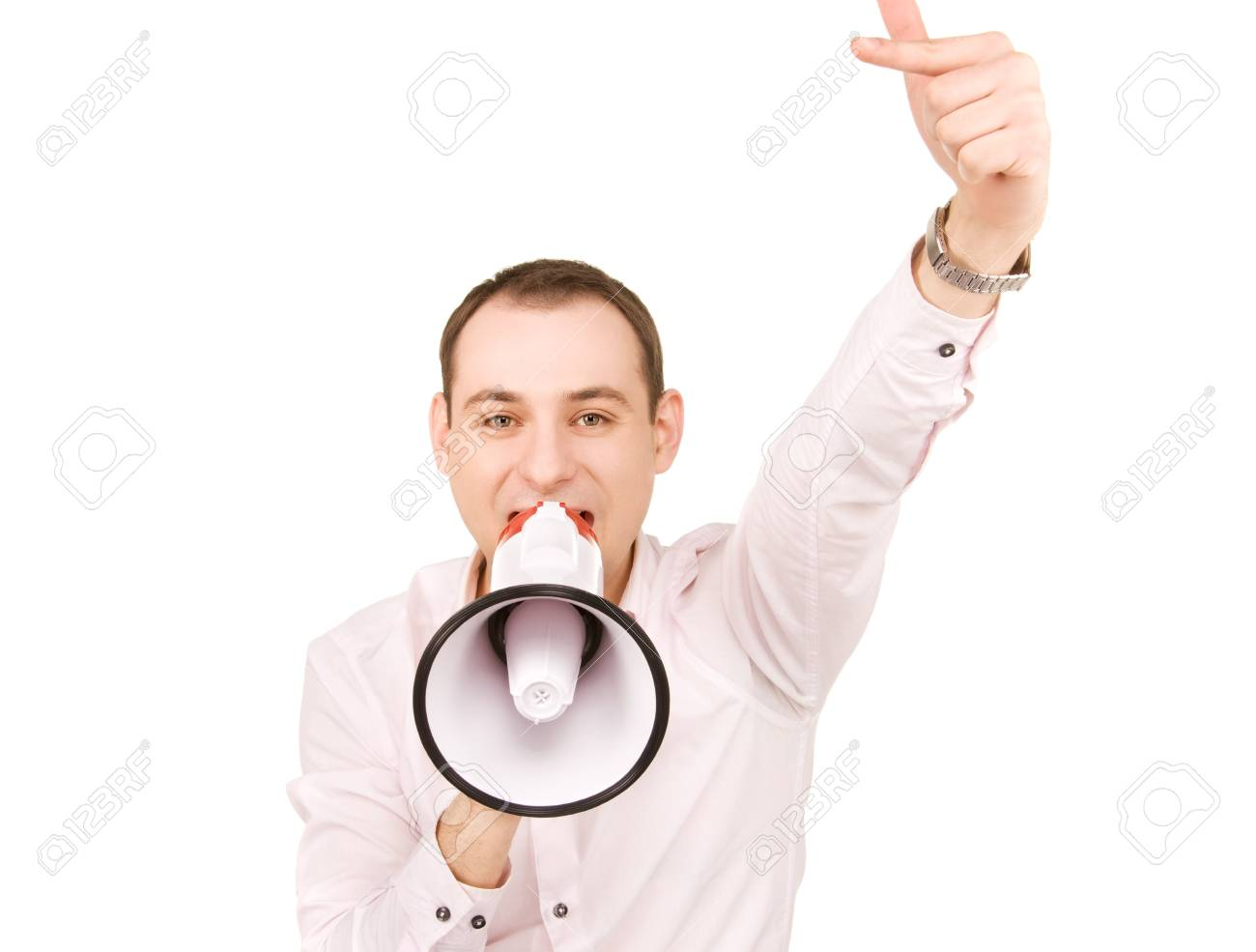 picture of businessman with megaphone over white Stock Photo - 7366261