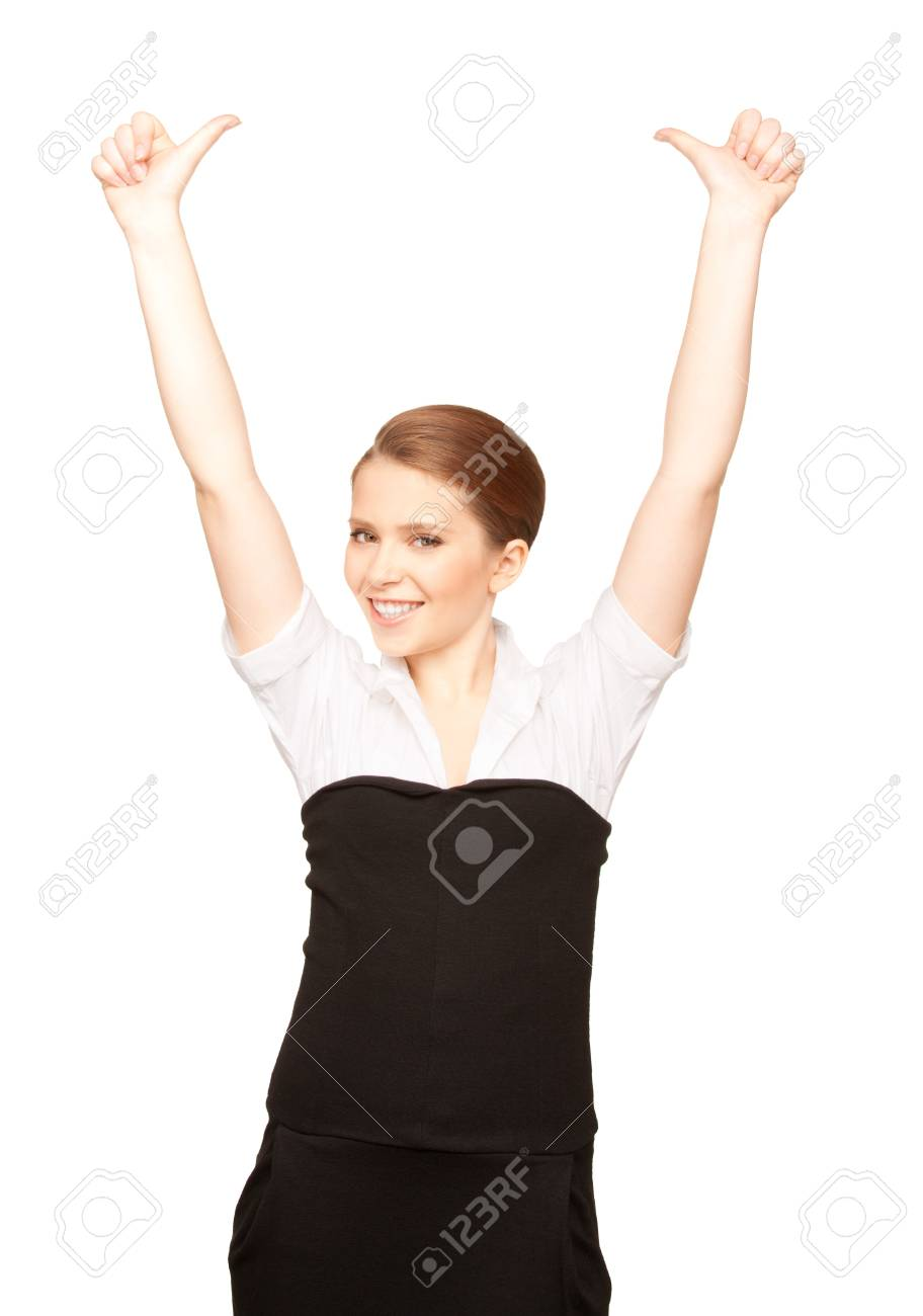 bright picture of lovely woman with thumbs up Stock Photo - 7372569