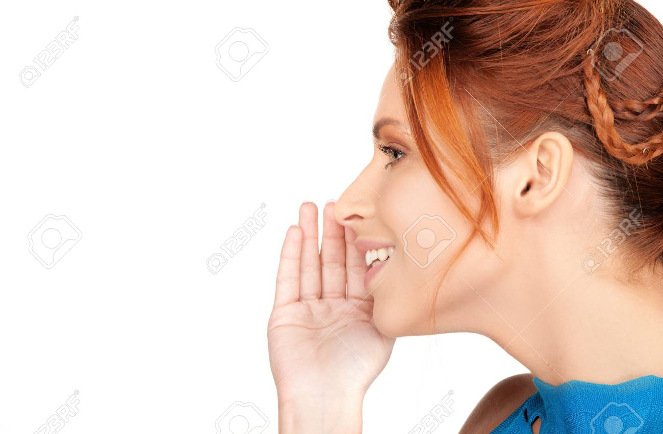 bright picture of teenage girl whispering gossip Stock Photo - 7418842
