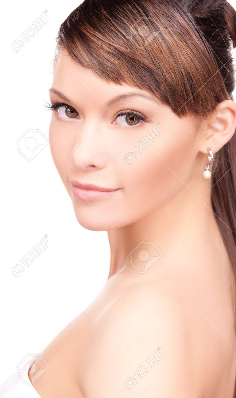 bright picture of lovely woman over white Stock Photo - 7522208