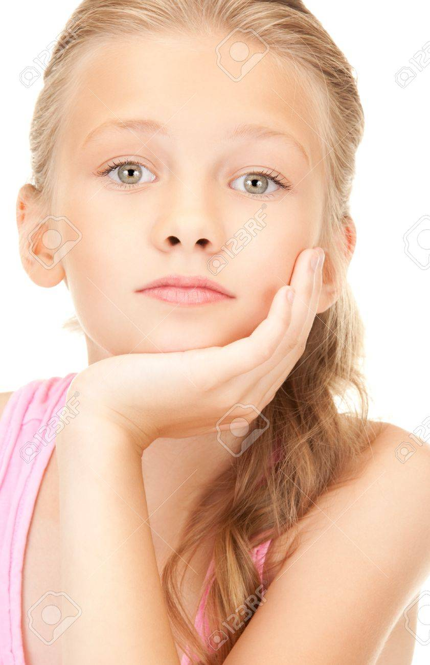 bright picture of lovely girl over white Stock Photo - 7533785