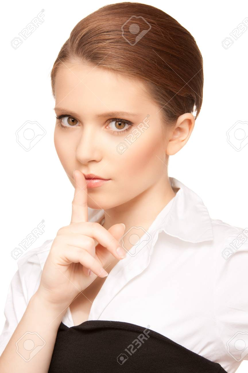 bright picture of teenage girl with finger on lips Stock Photo - 7533860