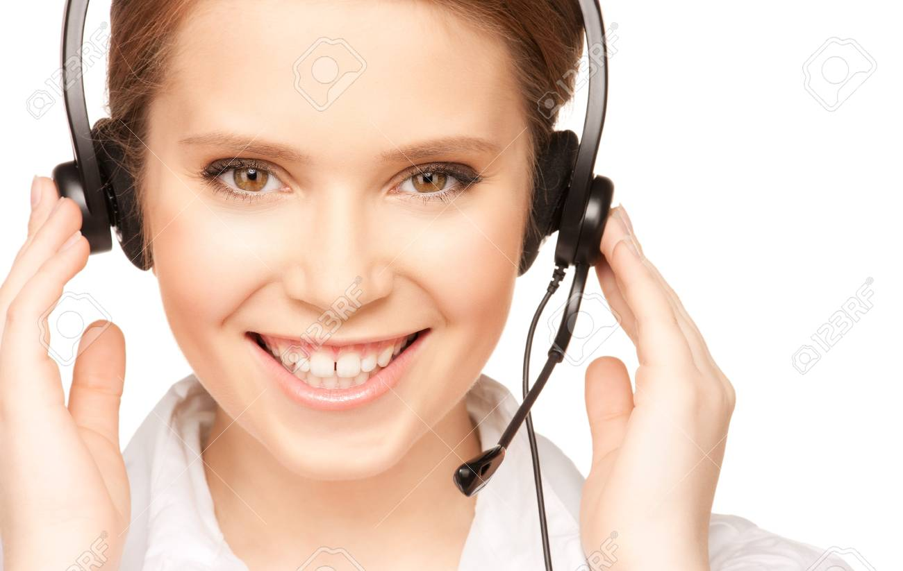 bright picture of friendly female helpline operator Stock Photo - 7636579