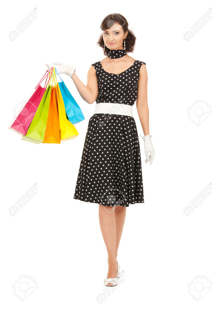 lovely woman with shopping bags over white Stock Photo - 7885840