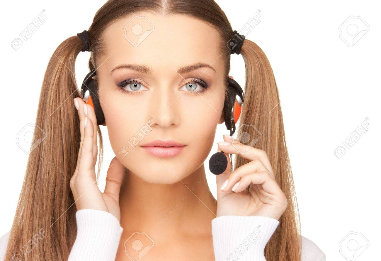 bright picture of friendly female helpline operator Stock Photo - 7886255