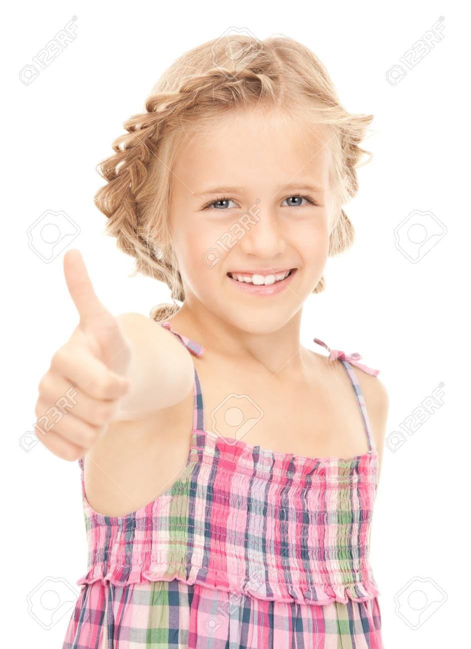 bright picture of lovely girl with thumbs up Stock Photo - 7956864