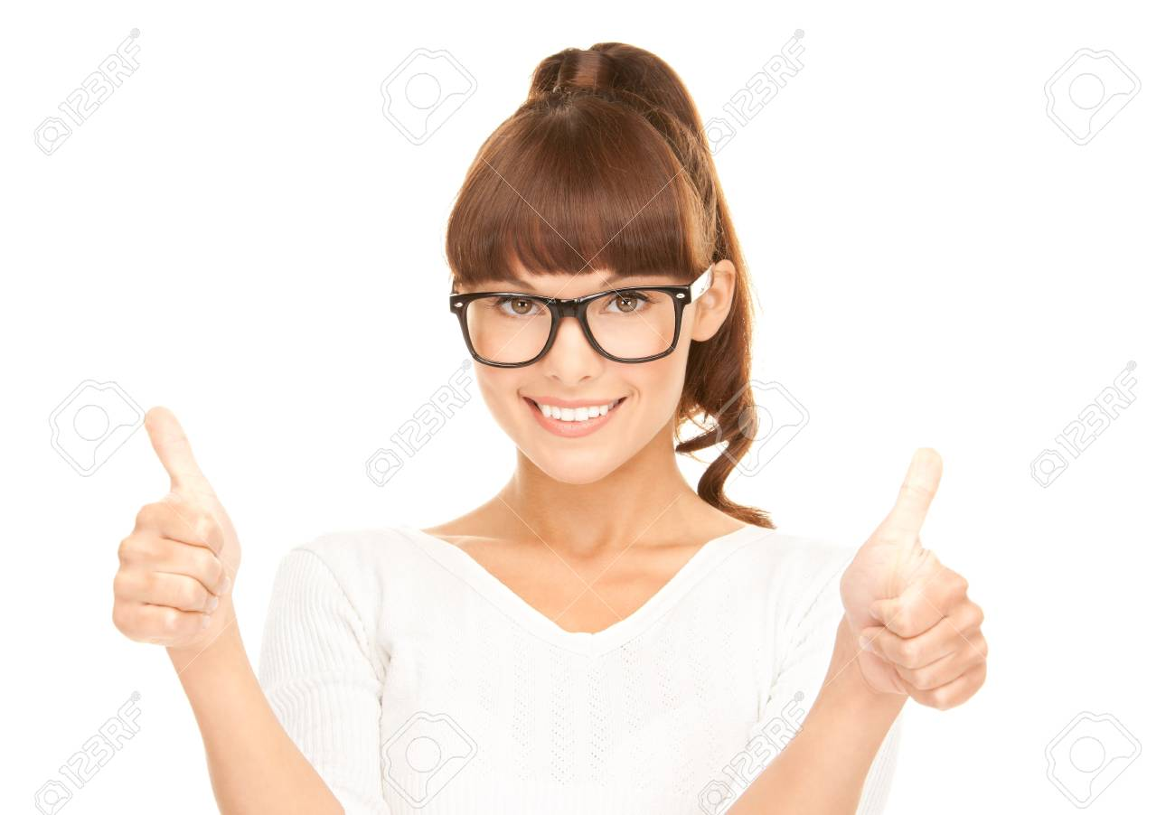 bright picture of lovely teenage girl with thumbs up Stock Photo - 7956881