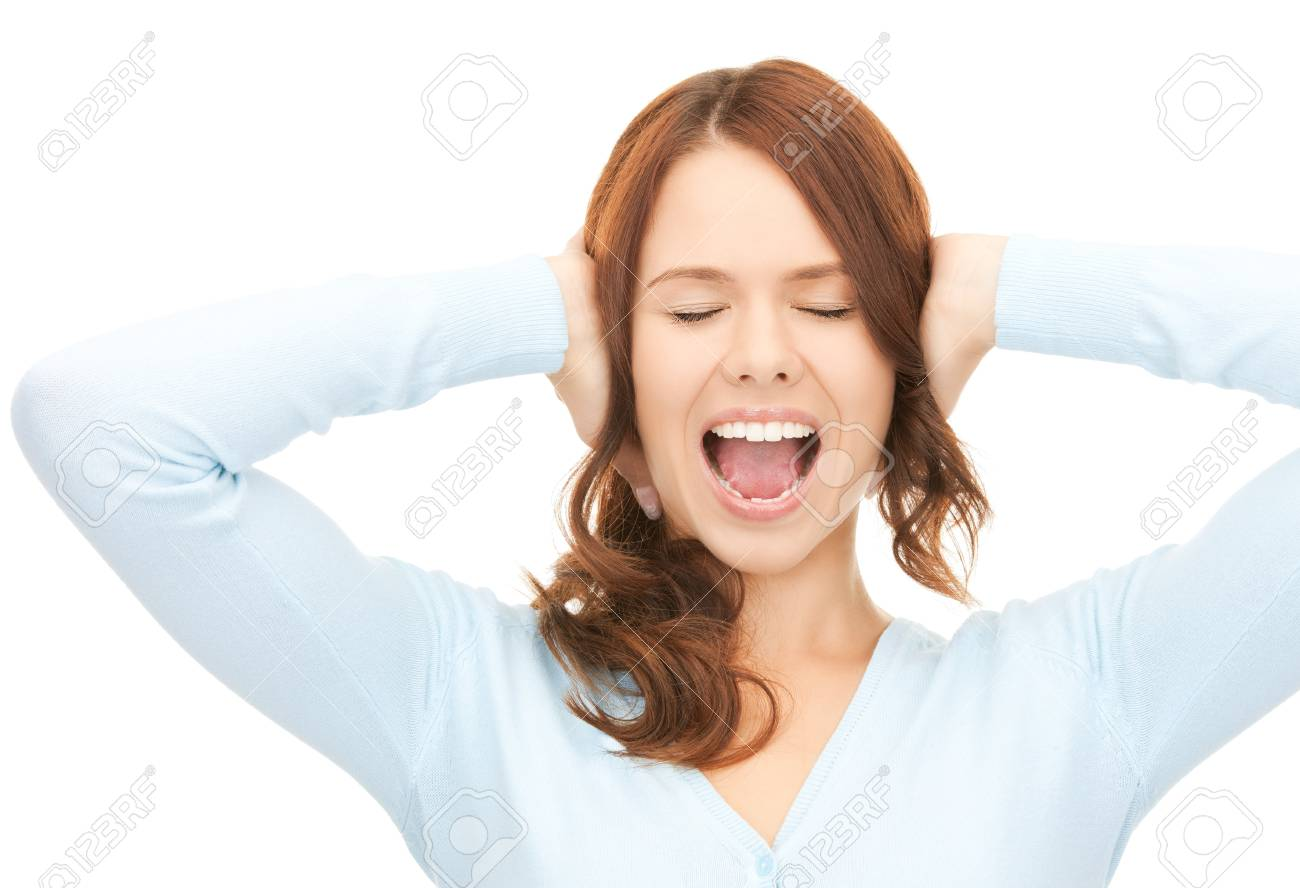 bright picture of screaming woman over white Stock Photo - 8072740