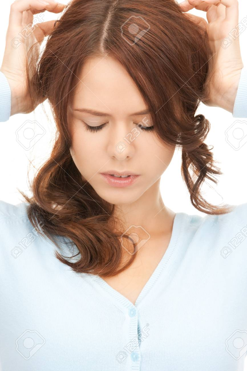 bright picture of unhappy woman over white Stock Photo - 8214893