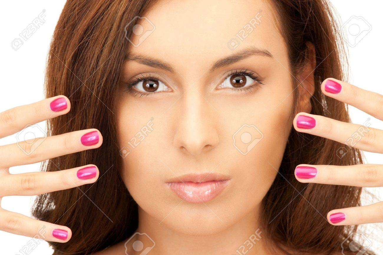 bright picture of lovely woman with polished nails over white Stock Photo - 8277117