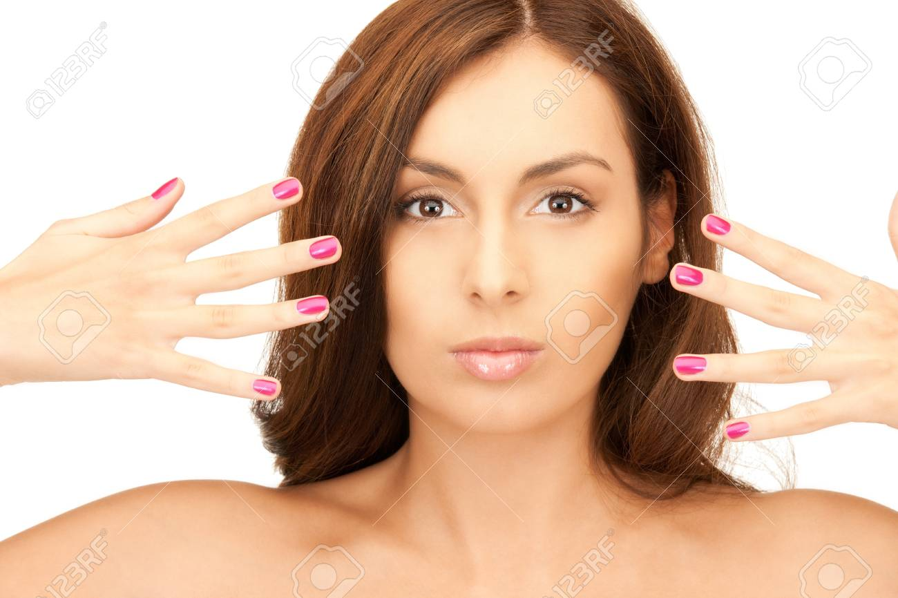 bright picture of lovely woman with polished nails over white Stock Photo - 8326005