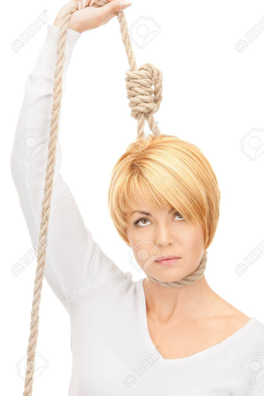 bright picture of business woman with the noose Stock Photo - 8335219