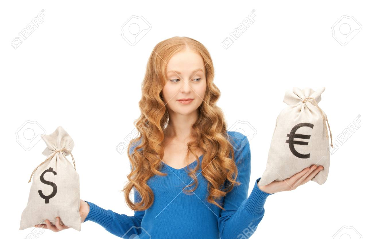 picture of woman with euro and dollar bags Stock Photo - 8410759