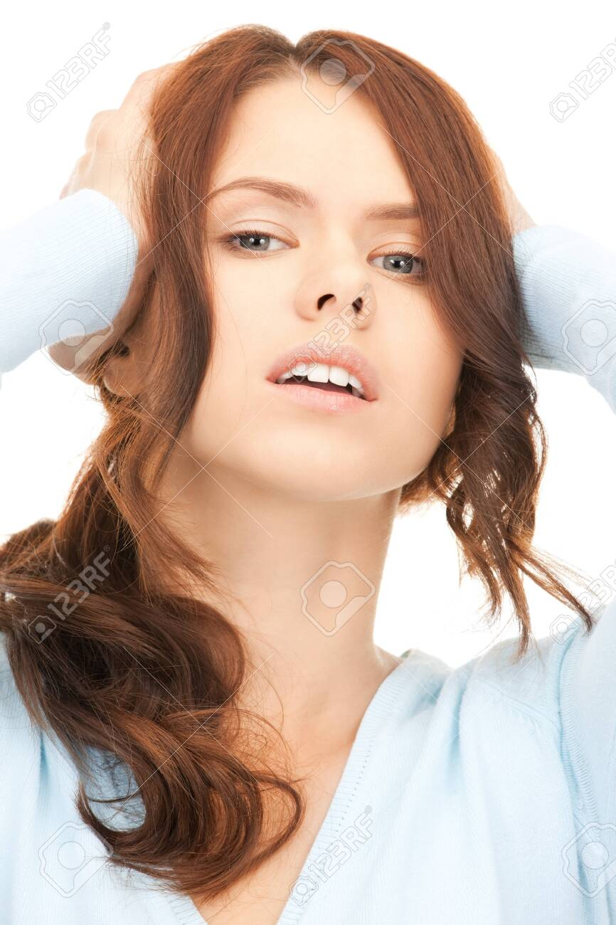bright picture of unhappy woman over white Stock Photo - 8410763