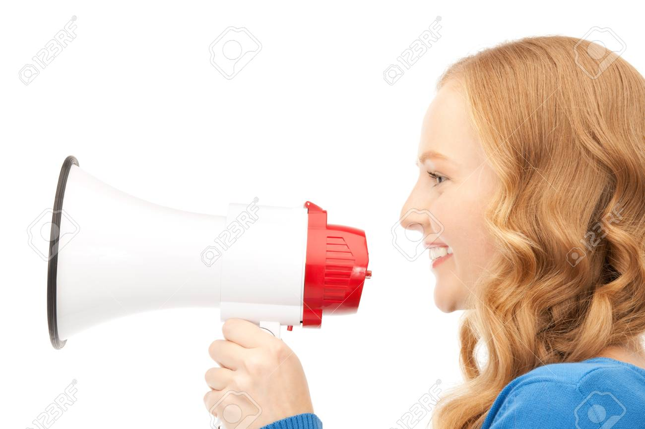 picture of woman with megaphone over white Stock Photo - 8410890