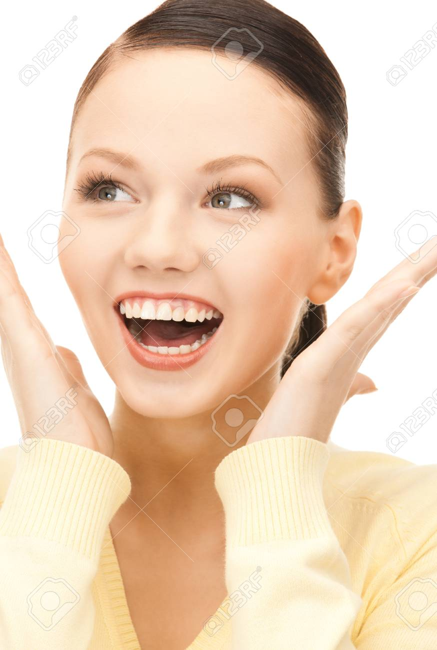 bright picture of surprised woman face over white Stock Photo - 8441153