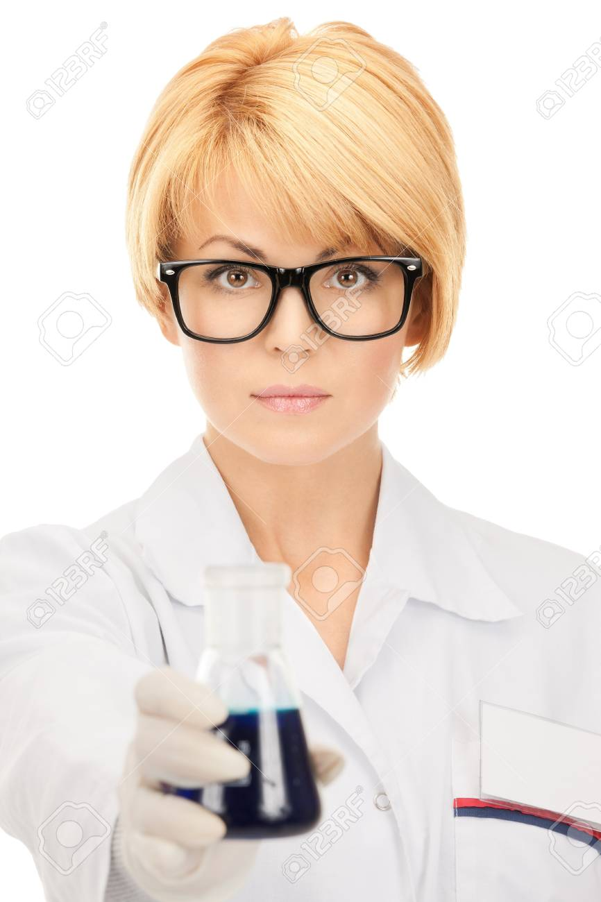 picture of beautiful lab worker holding up test tube Stock Photo - 8740716