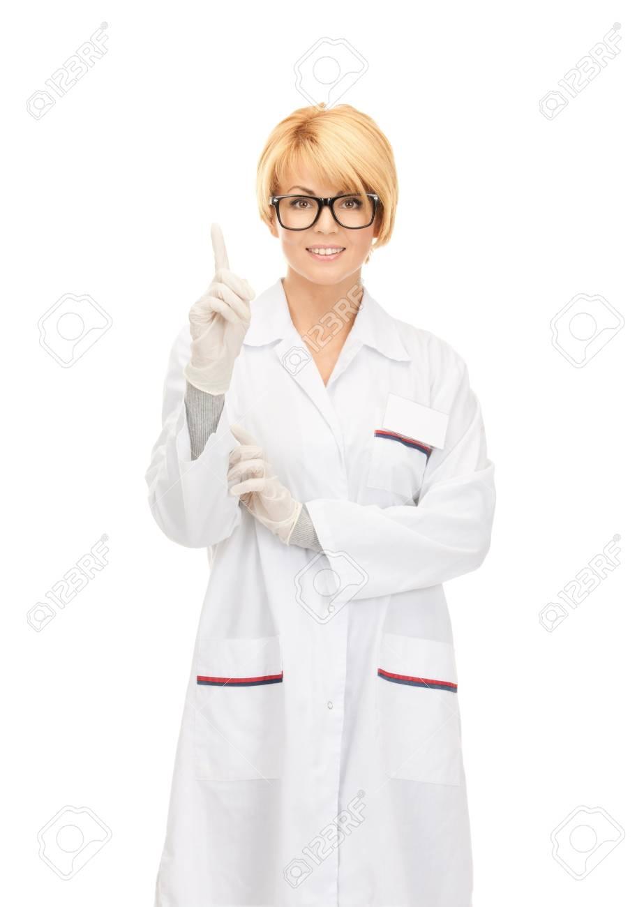 bright picture of attractive female doctor over white Stock Photo - 8862106