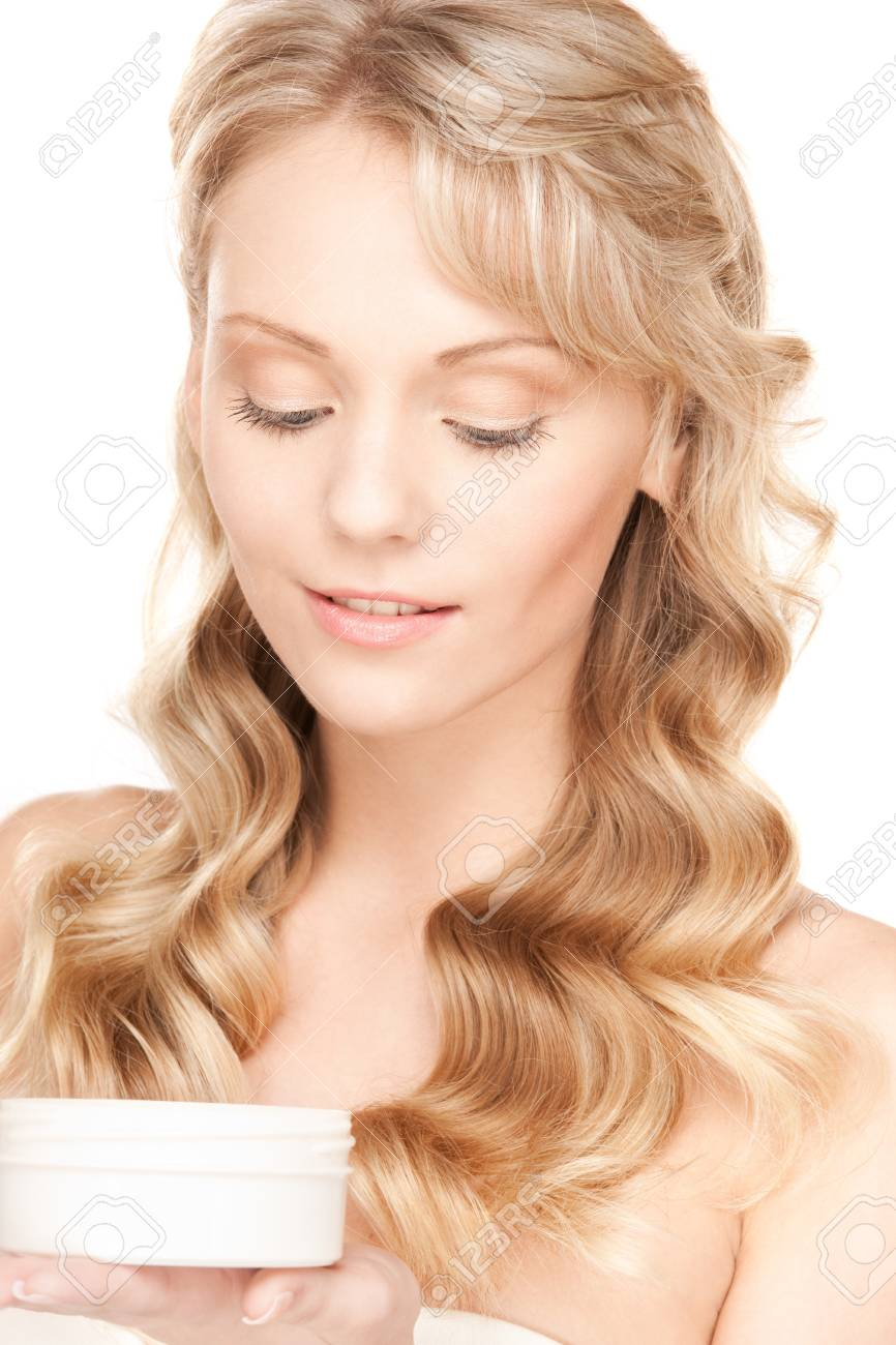 bright picture of lovely woman over white Stock Photo - 8864970
