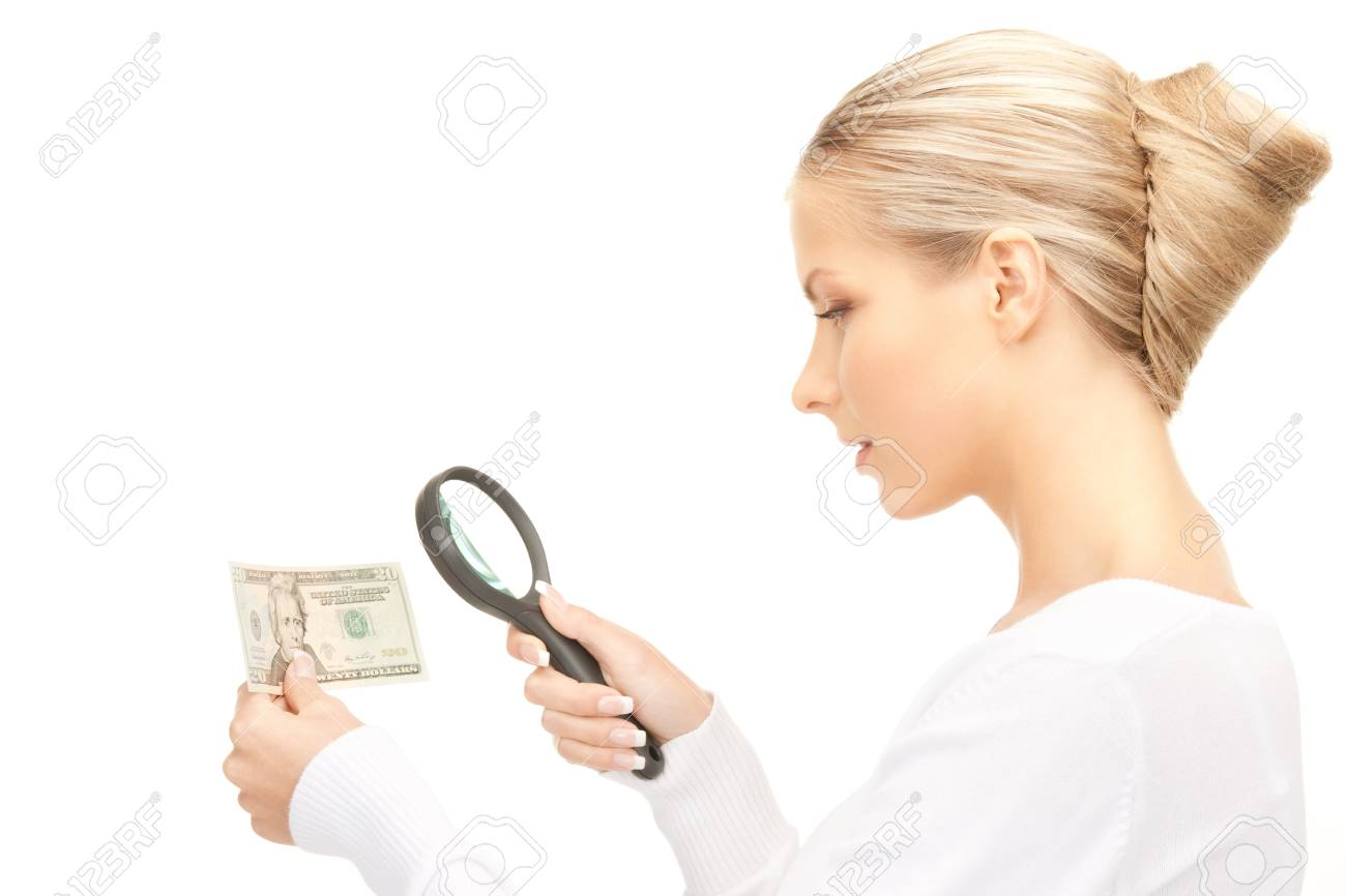 lovely woman with magnifying glass and money - 8867927