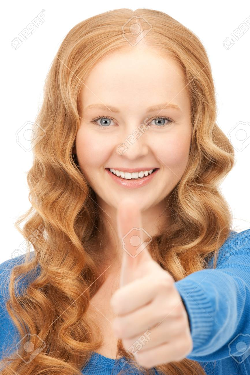 bright picture of lovely teenage girl with thumbs up Stock Photo - 8867255