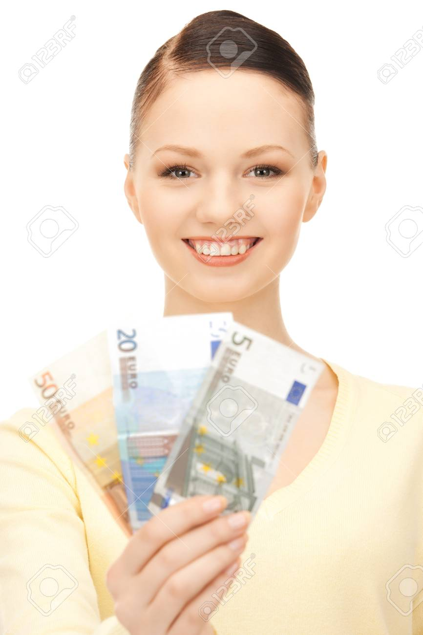 picture of lovely woman with euro cash money Stock Photo - 8981594