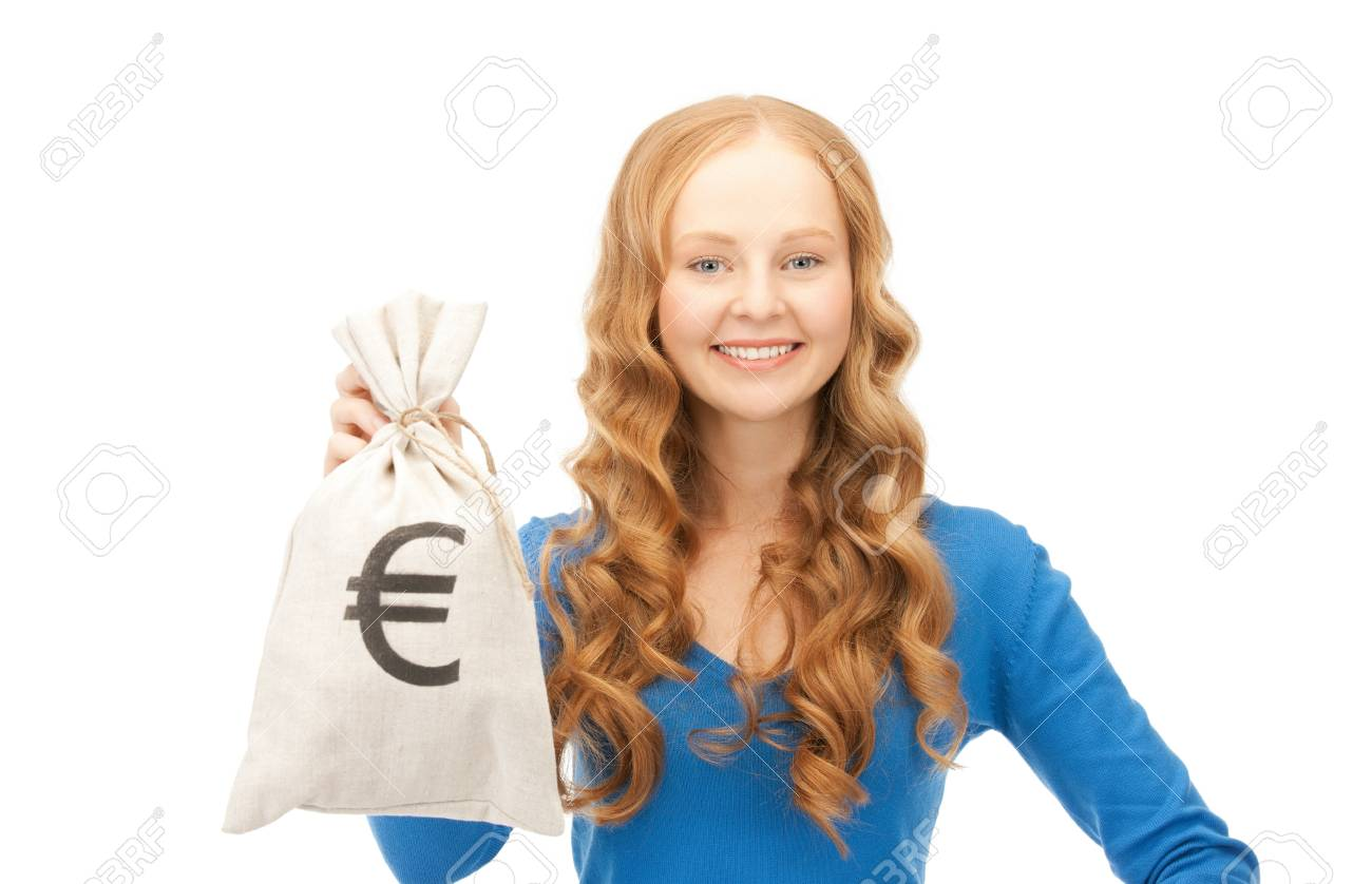 picture of woman with euro signed bag Stock Photo - 8983888