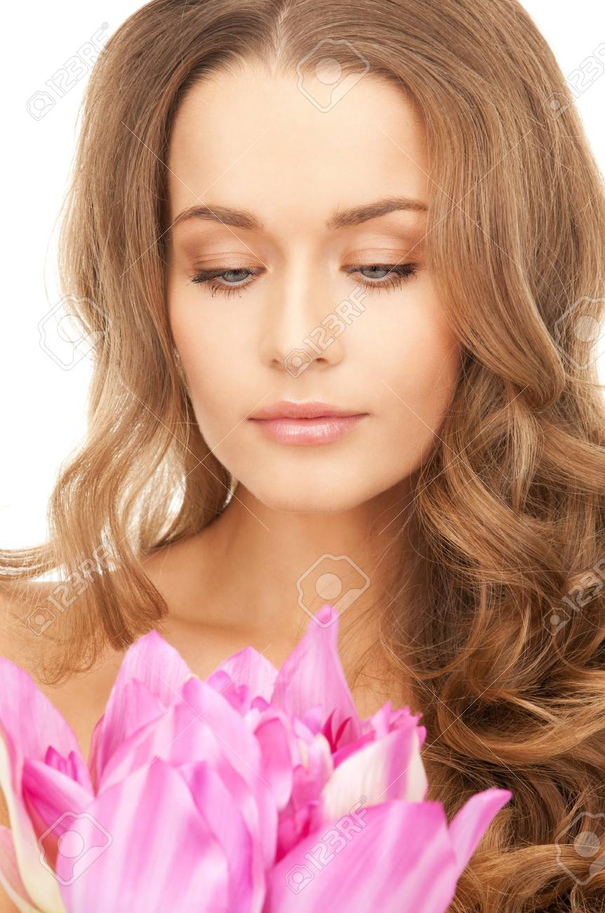picture of beautiful woman with lotus flower Stock Photo - 9059281